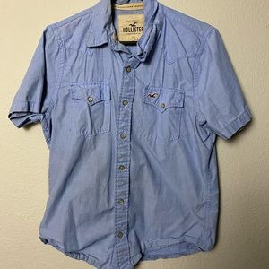 Blue Hollister short sleeve button up